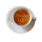 Kaffekopp med vaken upp! scripture royaltyfri foto
