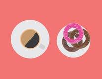 Kaffekopp och donutsvektor Arkivfoto