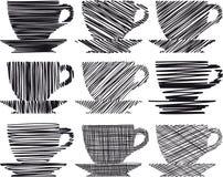 Kaffekopp och uppsättning för symbol för tekopp Arkivfoton