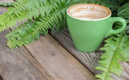 Kaffekopp på den wood tabellen med ormbunkebladet Arkivbilder