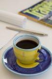 kaffekopp som tycker om planläggningslopp Fotografering för Bildbyråer