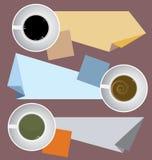 Kaffekoppar med pappers- anmärkningar Arkivbild