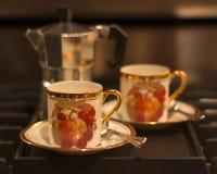 Kaffekoppar och kruka Royaltyfria Foton