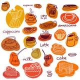 Kaffekoppar och söta kakor och makron ställde in Royaltyfri Foto