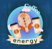 Kaffekoppar som jetpack Royaltyfri Fotografi