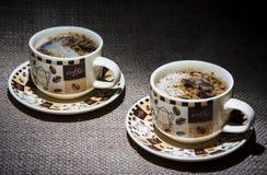 kaffekoppar två Arkivfoton