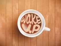 Kaffekoppen med tidbokstäver, motivation citerar om tid och att vakna, det högra ögonblicket Realistiskt svart kaffe på brunt Arkivfoton