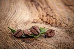 Kaffekorn på träbakgrund royaltyfri bild