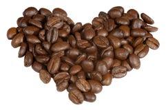 kaffekornhjärta gjorde symbol Arkivbilder