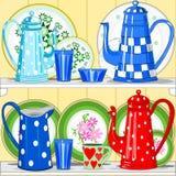 Kaffekrukar och disk royaltyfri illustrationer