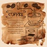 Kaffekvarn och bönor på en vattenfärgbakgrund stock illustrationer