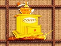 Kaffekvarn på en snigel stock illustrationer