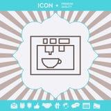 Kaffemaskin, linjär symbol för kaffebryggare Grafiska beståndsdelar för din design arkivbilder