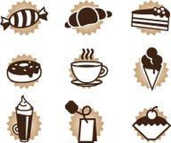kaffematsymboler ställde in tea Arkivbilder
