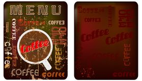 Kaffemenymall stock illustrationer