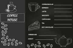 Kaffemenyn, skissar 2, svart tavla royaltyfri illustrationer