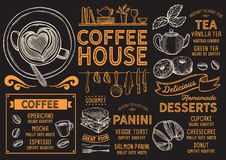 Kaffemenyrestaurang, drinkmall vektor illustrationer