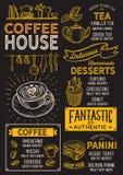 Kaffemenyrestaurang, drinkmall royaltyfri illustrationer