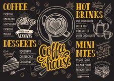 Kaffemenyrestaurang, matmall royaltyfri illustrationer