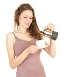 kaffemorgon som förbereder kvinnabarn Royaltyfri Foto