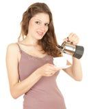kaffemorgon som förbereder kvinnan Arkivbilder
