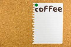 Kaffeord som göras från kaffebönor Arkivfoton