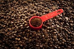 Kaffepartiklar och frö Royaltyfria Foton
