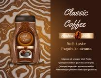 Kaffeproduktannons Illustration för vektor 3d För flaskmall för ögonblickligt kaffe design Annonsering för Arabicamärkesflaska Arkivbild