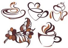 Kaffesamling Filial av kaffe och kaffebönor stock illustrationer