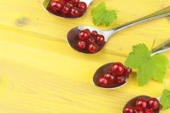 Kaffesked med röda vinbär på en gul trätabell Arkivbild