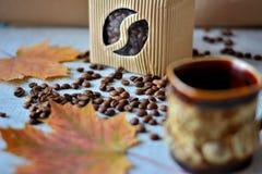 Kaffestilleben med koppen kaffe Arkivfoto