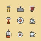 kaffesymboler ställde in tea Arkivbild