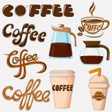 Kaffesymbolssamling Arkivfoton