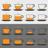 Kaffesymbolsuppsättning Arkivfoton