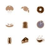 Kaffesymbolsuppsättning, coffee shop för kaffeböna Arkivfoton