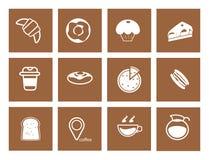 Kaffesymbolsuppsättning, coffee shop för kaffeböna Arkivfoto