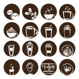 Kaffesymbolsuppsättning, coffee shop för kaffeböna Royaltyfri Foto