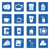 Kaffesymbolsuppsättning på blått Royaltyfri Fotografi