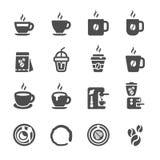Kaffesymbolsuppsättning, vektor eps10 Arkivfoton