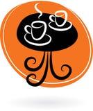 Kaffetabell med två koppar - cafelogo   Royaltyfri Foto