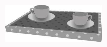 Kaffetid för frukostbegrepp Två koppar på magasinet Arkivfoton