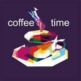 Kaffetid i konstverk för popkonst vektor illustrationer