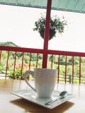 Kaffetid, trädgårdar och fred royaltyfria foton