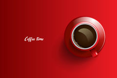 Kaffetiddesign över röd bakgrund Fotografering för Bildbyråer