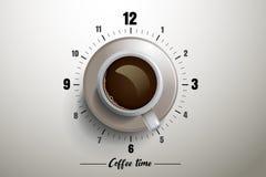 Kaffetiddesign med klockabegrepp Royaltyfri Foto