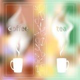 Kaffetidkort med en kopp te på en bakgrund av stadsgryning som är skriftlig på exponeringsglas stock illustrationer