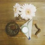 Kaffetidkuben mjölkar blommor Royaltyfri Fotografi
