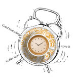 Kaffetidlarm vektor illustrationer