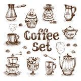 Kaffeuppsättning Fotografering för Bildbyråer
