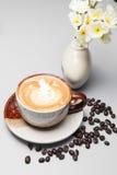 kaffeuppsättning för menybakgrund Arkivfoto